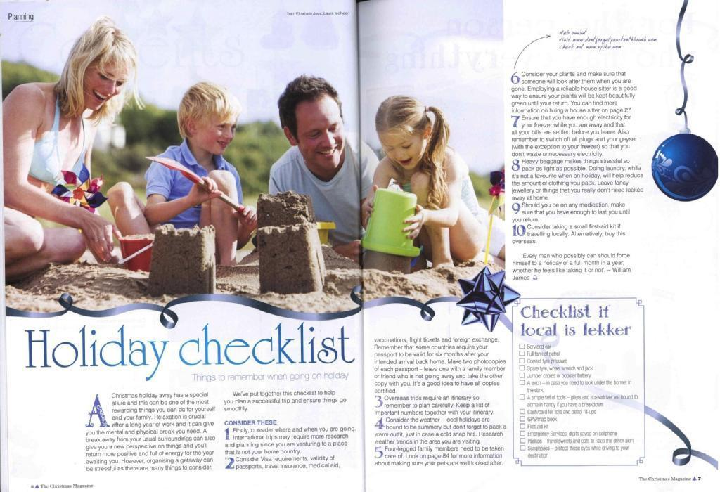 Feature Article - Holiday Checklist (The Christmas Magazine, Panorama Publications)