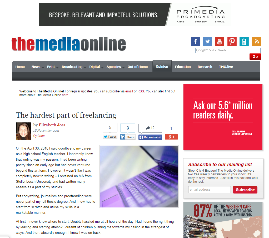 Opinion Piece - The Hardest Part of Freelancing (The Media Online, 2011)