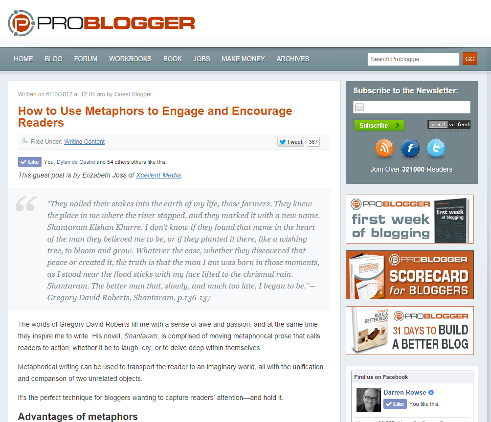 Guest Blog Post - How to Use Metaphors to Engage and Encourage Readers (Problogger, 2012)