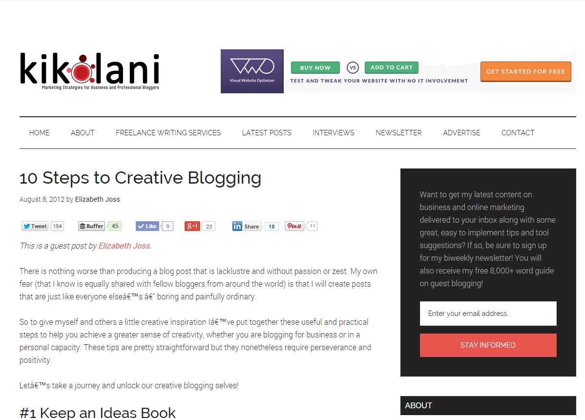 Guest Blog Post - 10 Steps to Creative Blogging (Kikolani, 2012)