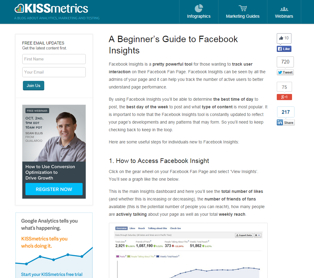 Guest Blog Post - A Beginner's Guide to Facebook Insights (Kissmetrics, 2012)