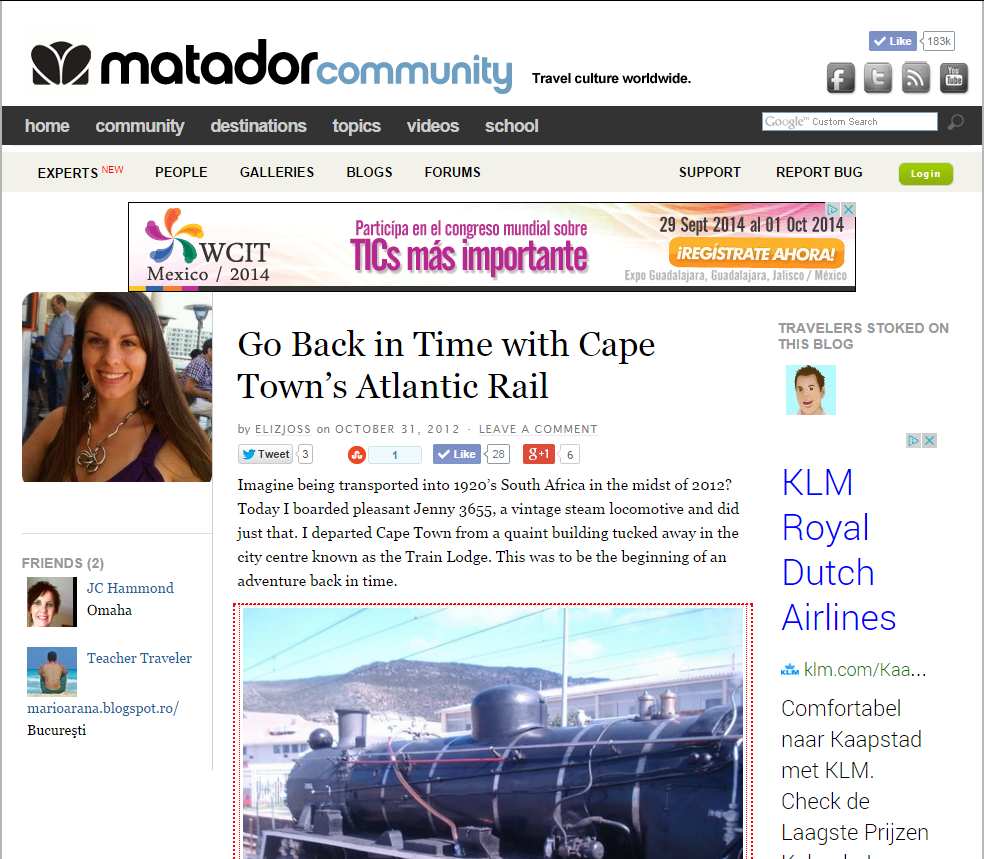 Travel Blog Post - Go Back in Time with Cape Town's Atlantic Rail (Matador Travel, 2012)