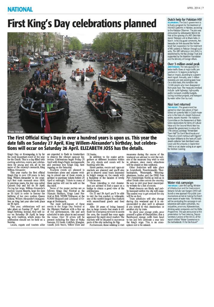 Feature Article - First King's Day Events Planned (The Holland Times; April 2014)