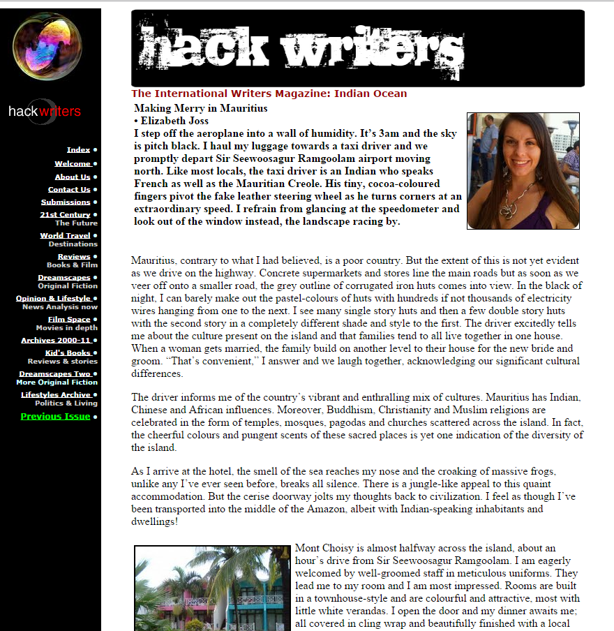 Travel Blog Post - Making Merry in Mauritius (The International Writers Magazine, Hackwriters 2012)