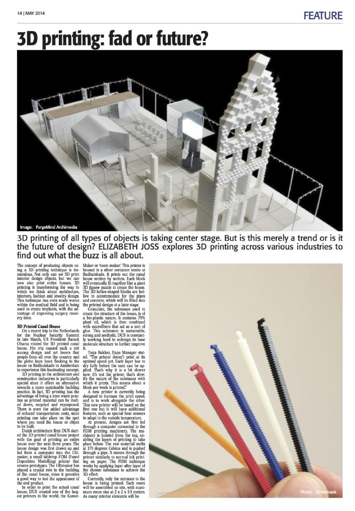 Feature Article - 3D Printing: Fad or Future? (The Holland Times 2014)