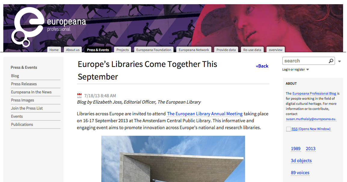 Press Release - Europe's Libraries Come Together This September