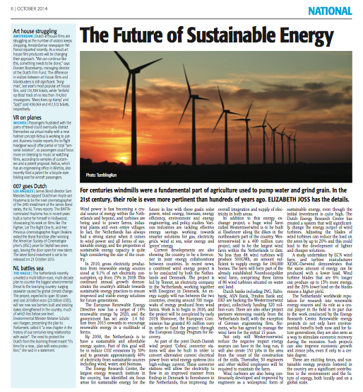Feature Article - The Future of Sustainable Energy (The Holland Times, October 2014)